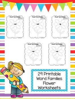 29 Flower Word Families Worksheets. Preschool and Kindergarten ...