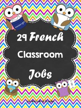 29 French Classroom Jobs / 29 métiers pour la classe