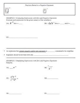 29) Integer Exponents - Guided Notes designed for PPT lesson