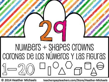 Numbers 1-20 & Shape Recognition Crowns / Coronas de los n