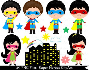 29 PNG Files- Kawaii heroes boys and girls-Digital Clip Art - 300 dpi 143
