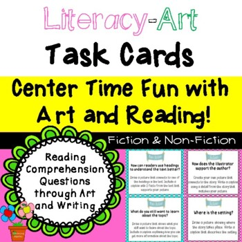 29 Reading Art Task Cards: Reading Center Activities: Fict