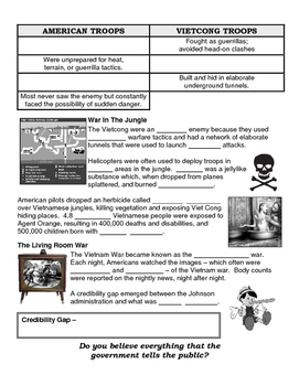 29 - The Vietnam War Era - Scaffold/Guided Notes (Blank and Filled-In)