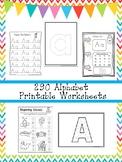 290 Alphabet Worksheets Download. Preschool-Kindergarte Ph