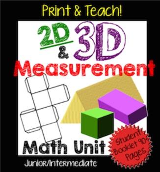 2D & 3D Measurement Unit: Perimeter, Area, Surface Area, and Volume NO PREP