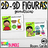 2D 3D SHAPES BOOM CARDS BUNDLE (SPANISH) Distance Learning