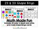 2D & 3D Shape Bingo {Math Made Fun Series}