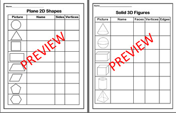 2D & 3D Shapes Charts
