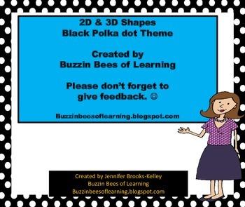 2D & 3D Shape Labels Black Polka Dot Theme