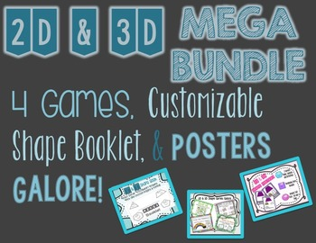 2D & 3D Shape Posters, Games, and Booklet Bundle
