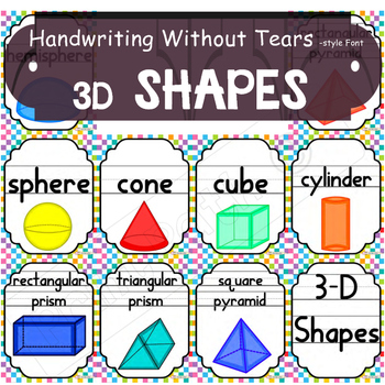 2D & 3D Shape Posters - Handwriting Without Tears Style Font