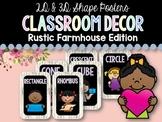 2D & 3D Shape Posters: Rustic Farmhouse Classroom Decor