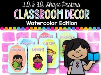 2D & 3D Shape Posters: Watercolor Classroom Decor