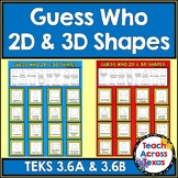 2D & 3D Shapes Attributes Guess Who Game TEKS 3.6A 3.6B