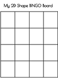 Student made 2D & 3D Shapes BINGO Board Template!