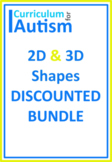 2D 3D Shapes BUNDLE Autism Special Education Math Center