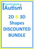 2D 3D Shapes BUNDLE, Autism, Special Education, Math Centers