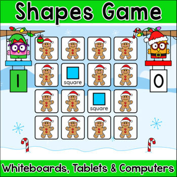 2D & 3D Shapes Christmas Memory Matching Game - SMARTboards, Tablets, Computers