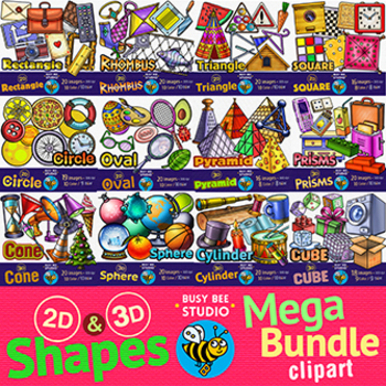 2D & 3D Shapes Clipart Mega Bundle