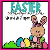 2D & 3D Shapes Color-By-Number Easter themed