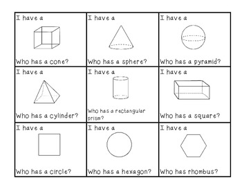 2D & 3D Shapes Game ~ I have... Who Has??