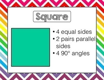 2D and 3D Shapes Posters Geometry BUNDLE | Rainbow Chevron