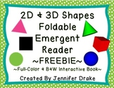 2D & 3D Shapes Interactive Emergent Reader ~Color & B&W~ FREEBIE!