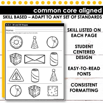 2D & 3D Shapes | Kindergarten Math K G 3