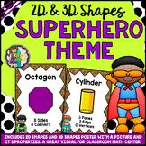 2D & 3D Shapes Math Posters Superhero Theme (Back to School)
