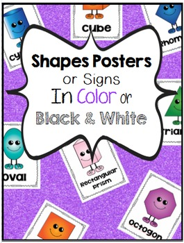 2D & 3D Shapes Poster or Signs in Color and Black & White