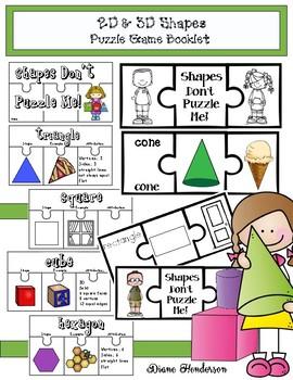 2D & 3D Shapes Puzzle Game Booklet