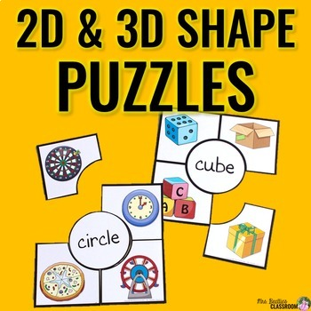 2D and 3D Shapes Puzzles BUNDLE