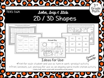 2D & 3D Shapes Freebie: Solve, Snip, & Stick: TEKS: 3.6A