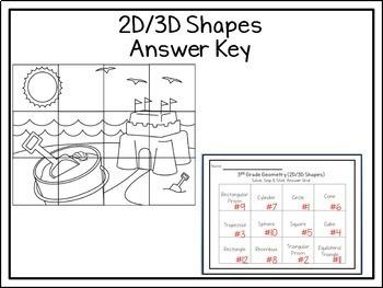 2D & 3D Shapes Freebie: Solve, Snip, & Stick: TEKS: 3.6A