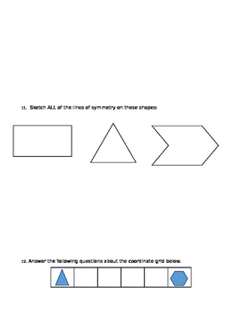 2D/3D Shapes, Symmetry, Co-Ordinates, and Angles Retest
