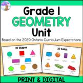 2D & 3D Shapes Unit for Grade 1 (Ontario Curriculum)