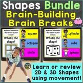 2D & 3D Shapes with Movement Brain Breaks Bundle Google Sl