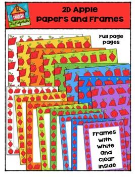 2D Apple Papers and Frames {P4 Clips Trioriginals Digital