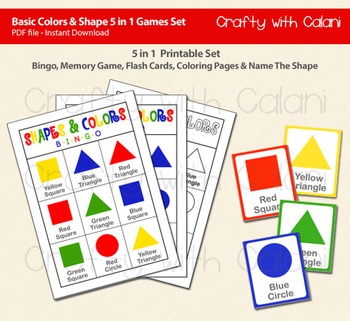Basic 2D Shapes 5 in 1 Activity Set, Bingo, Flash Card, Coloring & Memory