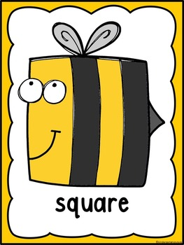 2D Bee Shapes A Predictable Book, Posters, Cards & Roll and Cover Game BUNDLE