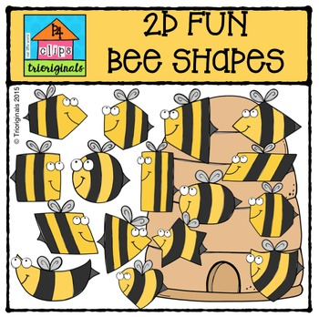 2D FUN Bee Shapes {P4 Clips Trioriginals Digital Clip Art}