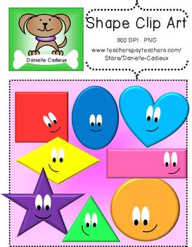 2D Bright Shapes with Faces Clip Art