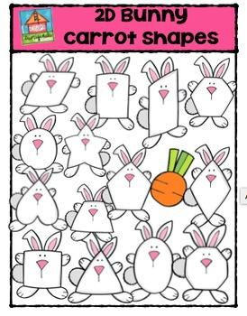 2D Bunny Carrot Shapes {P4 Clips Trioriginals Digital Clip Art}