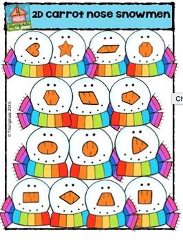 2D Carrot Nose Snowmen Shapes  {P4 Clips Trioriginals Digital Clip Art}