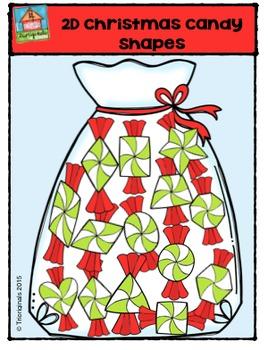 2D Christmas Candy Shapes {P4 Clips Trioriginals Digital Clip Art}