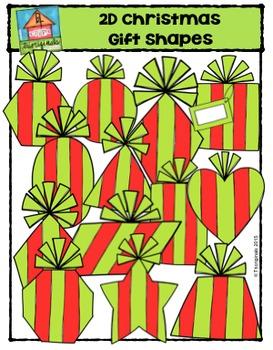 2D Christmas Gift Shapes {P4 Clips Trioriginals Digital Clip Art}