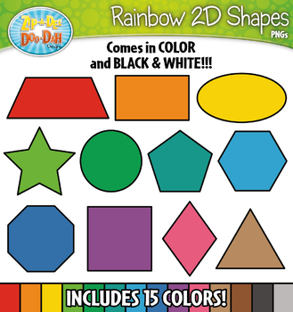 2D Rainbow Shapes Clipart {Zip-A-Dee-Doo-Dah Designs}