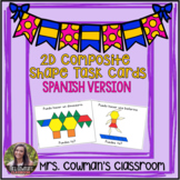 2D Composite Shapes Pattern Block Task Cards: Spanish Version