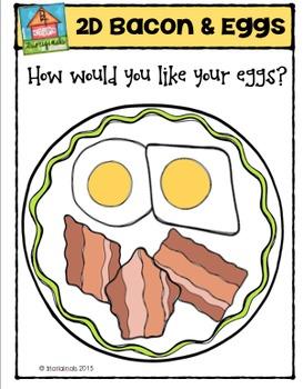 2D Eggs and Bacon {P4 Clips Trioriginals Digital Clip Art}