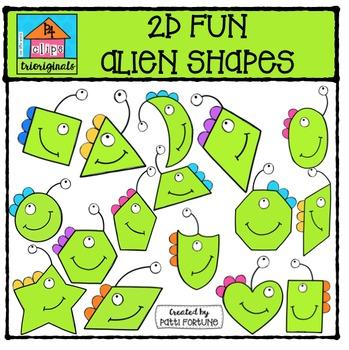 2D FUN Alien Shapes {P4 Clips Trioriginals Digital Clip Art}